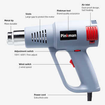Pinkman Heat Gun Hot Air Gun Stepless Multi-level Temperature Adjustment Nozzle For Resin Heat Shrink Wrapping Machine Handle