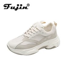 Fujin Women Sneakers High Quality Platform Breathable Leather Mesh Comfortable v