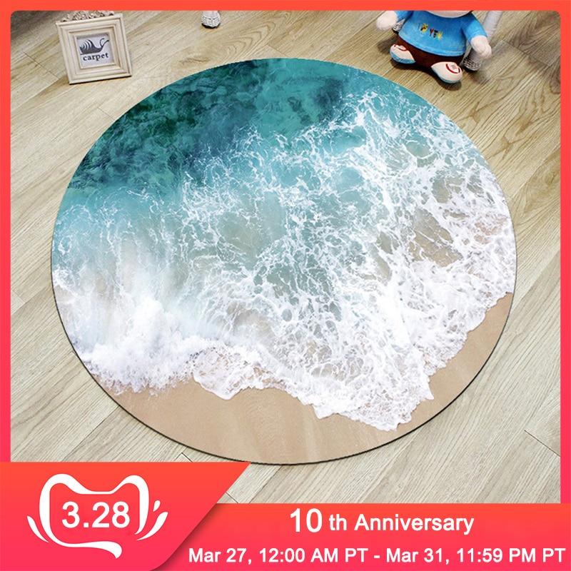 RFWCAK 3D Sea Beach Round Carpet Computer Chair Pad Living Room Mat Kids Room Bedroom Anti-slip Rug Tapete Para Sala Home Decor
