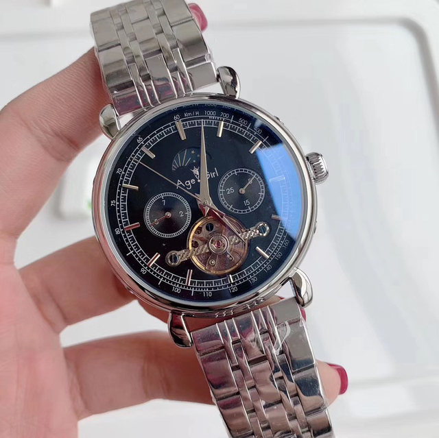 Luxury Brand New Men Automatic Mechanical Watch Rose Gold Leather Black MoonPhase Tourbillon Sapphire Glass Back See Through AAA   Fotoflaco.net