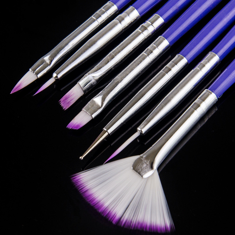 7PCS/Set Nail Art Brush Pen Dotting Liner Painting Fan 3D Tips DIY   Design Polish Gel  UV Decoration Manicure Tools Beauty