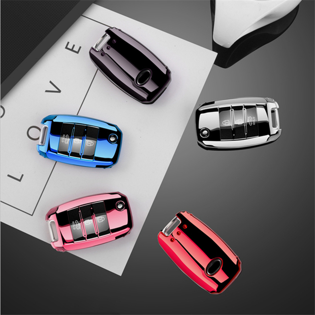 Beautiful Full cover New Soft TPU car key case shell For Kia Rio QL Sportage Ceed Cerato Sorento K2 K3 K4 K5 Auto Accessories 2