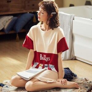 Image 4 - BZEL moda damska nocna spódnica wiosna wypoczynek bawełna ubrania domowe koszula nocna z krótkim rękawem Cartoon Ladies bielizna nocna Pijamas piżama