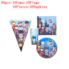 Cartoon Superhero Party Set Kids Boys Theme Birthday Party Supplies Paper Plates Cups Flags Napkins Baby Shower Party Decoration