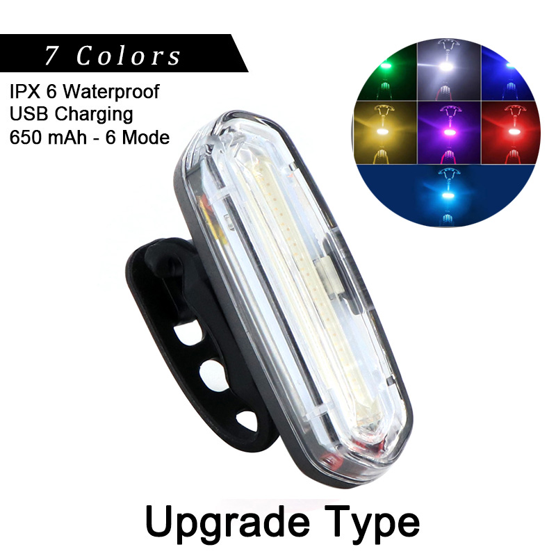 100 Lm Waterproof LED Bike Rear Tail Light Lamp 6 Modes USB Rechargeable Battery