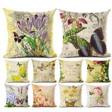 45cm x 45cm Vintage Flor Mariposa impreso funda de cojín de lino bordado funda de cojín cama café decoración para el hogar
