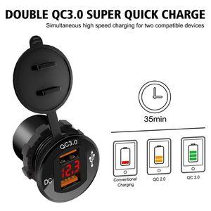 Image 3 - 12 فولت/24 فولت معدن مقاوم للماء المزدوج QC3.0 USB سريع شاحن سيارة مخرج طاقة الفولتميتر