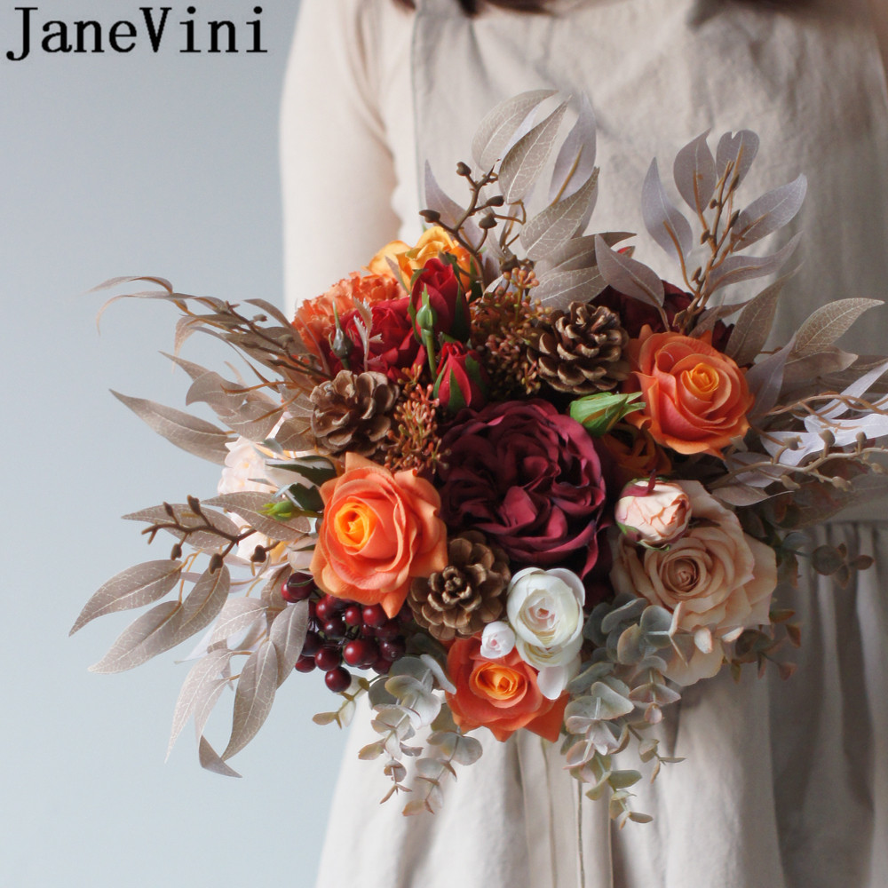 JaneVini Autumn Vintage Bride Wedding Bouquet Charm Orange Cream Fleurs Rose Peonies Artificial Flowers Bridal Bouquets 2020