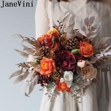 JaneVini, ramo de novia Vintage de otoño, encanto de ramo de novia, flor de crema naranja, peonías de rosas, flores artificiales para la novia, Ramos 2020