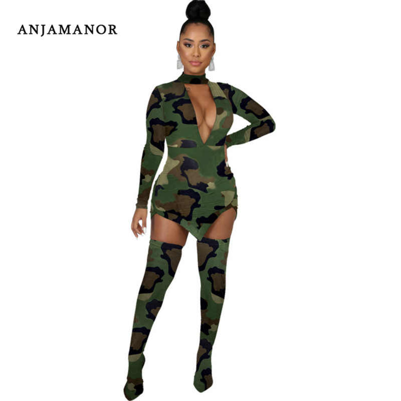 ANJAMANOR Camo Animal Print Two Piece Set Deep V Long Sleeve Dress Stockings Sexy Club Outfits For Parties Plus Size D35-AD53