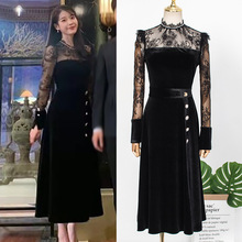 2019 autumn and winter models female Korean version of the temperament waist black lace stitching dress