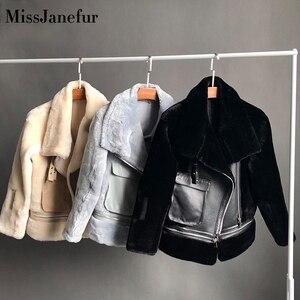 Бесплатная доставка, женская модная куртка из натуральной кожи, зимнее теплое меховое пальто из овечьей шерсти, куртки размера плюс, овечья ...