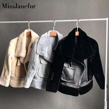 Free shipping Women fashion Genuine leather jacket winter warm fur coat sheepskin wool jackets plus size sheep shearling