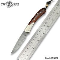 TWOSUN KNIVES Damascus blade SLIP JOINT Knife folding Pocket Knife camping hunting knives outdoor tool EDC Snakewood TS252