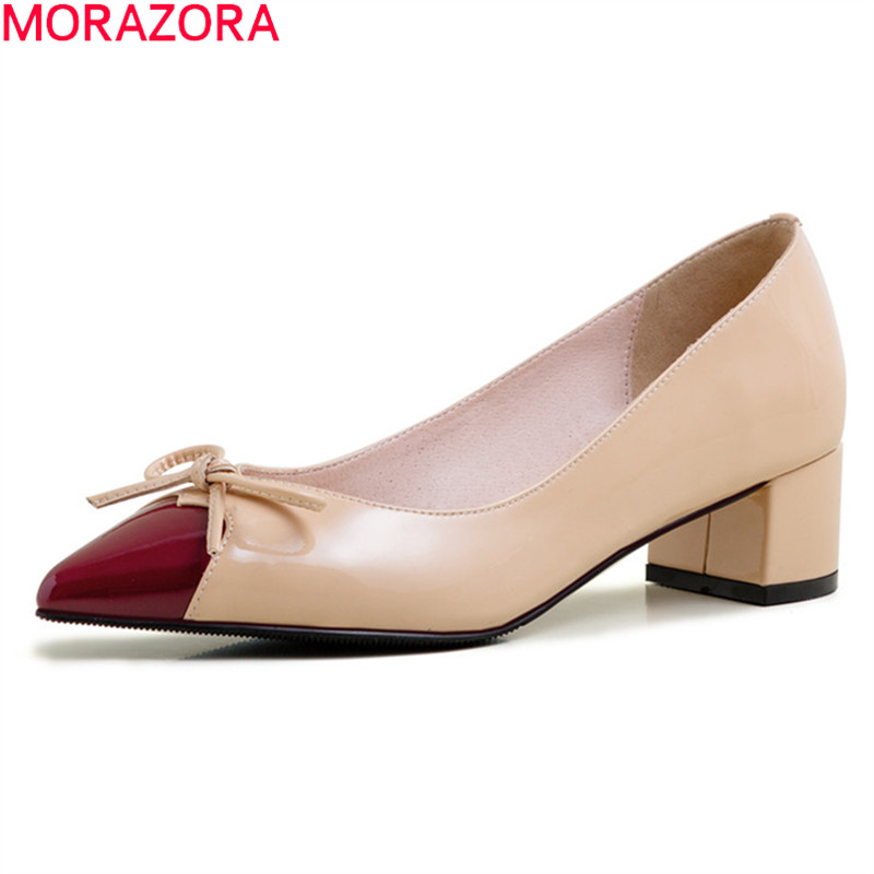 MORAZORA 2020 new arrival fashion women pumps thick heels pointed toe sweet bowknot ladies shoes genuine leather party shoes