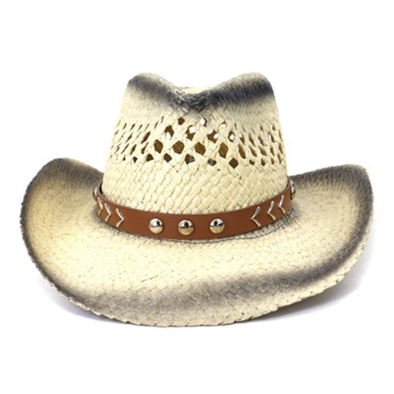 women summer hats big brim panama belt band sun hats khaki gradient color western cowboy jazz caps bucket sun straw hats men hat