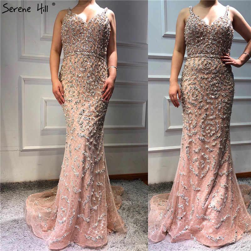 Dubai Sexy Spaghetti Strap V Neck Mermaid Prom Dresses 2019 Pearls Beading Luxury Sleeveless Prom Gowns Real Photo DLA60729
