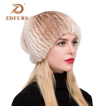ZDFURS* 2019 new Winter women girls natural rex rabbit  hats diamond stylish fashionable female fur cap brand hat