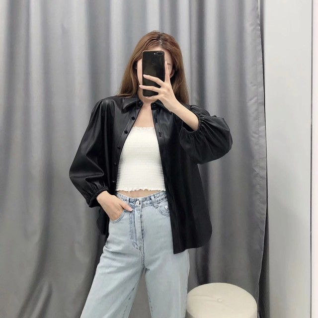 New design za PU faux leather Womens Blouses Shirts puff sleeve autumn Womens tops and blouses streetwear korean Camisa Blusas 15