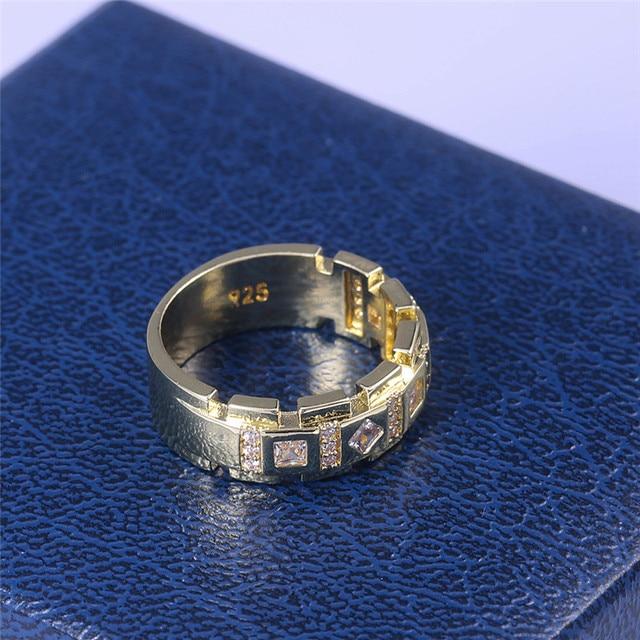 2020 moda luksusowe kolor srebrny AAA cyrkon kamienny pierścień mężczyzna kobieta złoty kolor biżuteria obrączka ślubna obietnica pierścienie dla kobiet mężczyzn