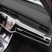 Panel central Interior de fibra de carbono para coche, embellecedor de cubierta de Control central, accesorios LHD, para Audi A6 C8 2019 2020