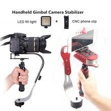 El steadycam sabitleyici kamera sabitleyici telefon klibi ile dolgu ışıkları Canon Gopro Hero DSLR DV steadicam aksesuarları