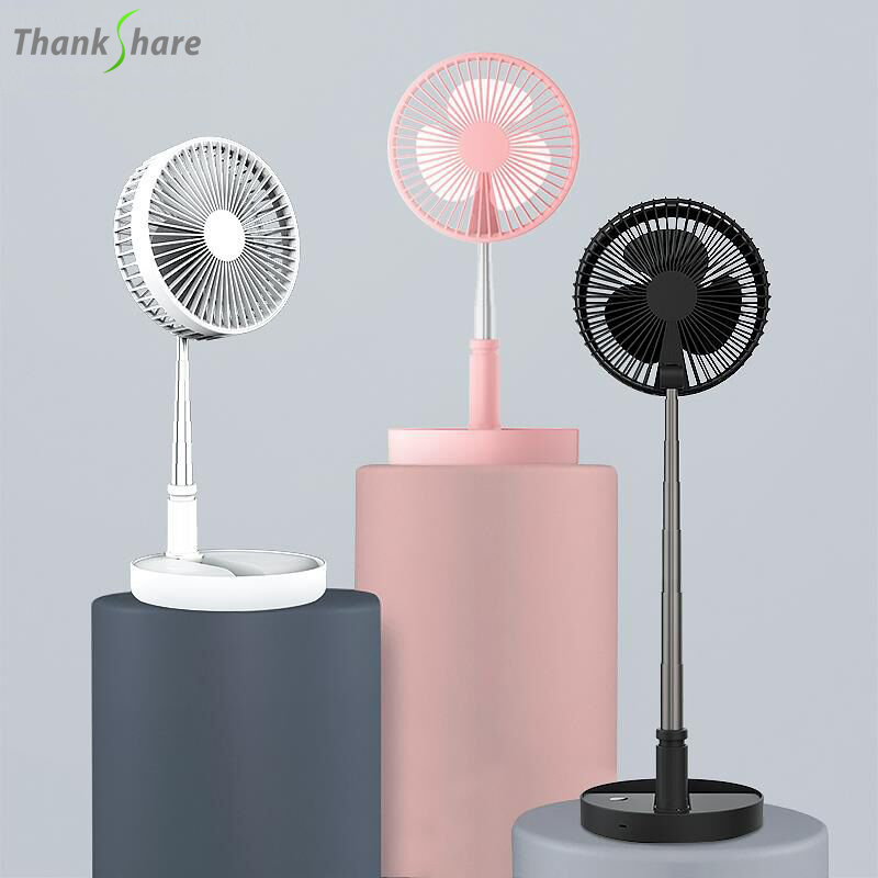 THANKSHRE Rechargeable Pedestal Table Desk USB Fan Silent Mini Fan Electric USB Fans 3 In1 With Double Blades For Home Office
