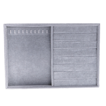 Novelty Grey Velvet Jewelry Display Showcase Organizer Holder for Necklace Bracelet Ring Earrings Jewerlry Box