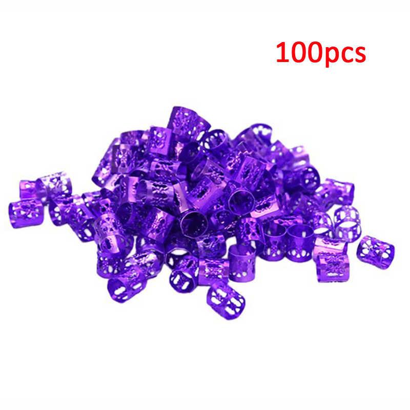 100 unids/lote cuentas de Dreadlock para trenzas cuentas de pelo para rastas de pelo anillo de tubo de Metal ajustable para el pelo trenzas accesorios de clip de puño
