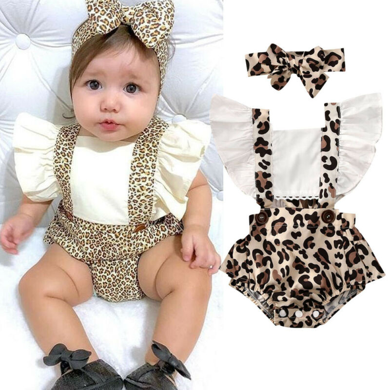 2Pcs Newborn Baby Girl Leopard Printed Romper Fly Sleeve Backless Lace-up Jumpsuit Headband Clothes Outfits Baby Girl Rompers