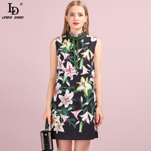 LD LINDA DELLA Fashion Summer Vintage Mini Short Dress Women's Sleeveless Floral Printed Beading Female Stylish A-Line Dresses blue random floral printed a line mini dress