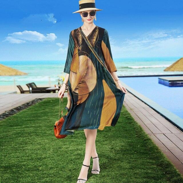 ZUOMAN Silk Dress New Summer Women Loose Plus size Casual Dress OL work Wear Vintage Print beach Sundress dresses vestidos 2