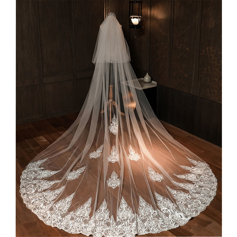 Korea Fashion Appliques Lace Bridal Wedding Veil Bride's Hair Accessories Veils With Comb Cathedral Church Two Layers