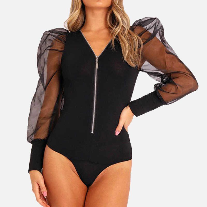 Frauen Bodys Schwarz Weiß Solide Strick Sexy Weiblichen Body V Neck Zipper Mesh Puff Hülse Patchwork Dünne Dame OverallClothes
