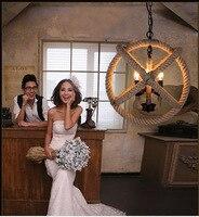 Nordic Retro Loft Vintage Hemp Rope Iron Round Ball Pendant Light For Restaurant Bar Bedroom Dining Room E27 Hanging Lamp lustre