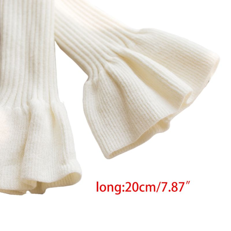 Women Girls Ribbed Knit Horn Cuff Pleated Flared Detahable Sweater Fake Sleeve