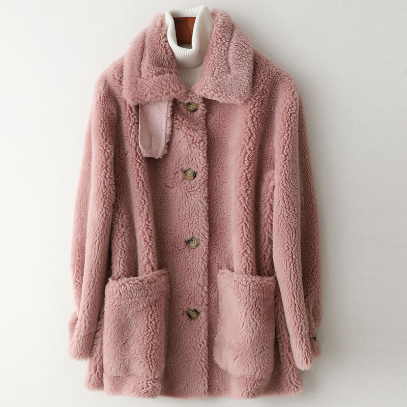 Winter White Sheepskin Woolen Warm Winter Jackets Solid High Quality Coats Pockets Pink Casual Blue Turn Down Collar Overcoat
