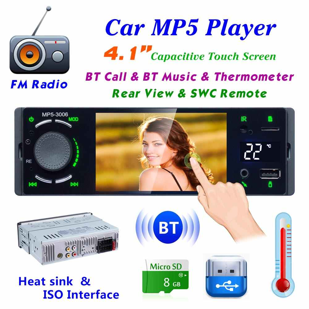 "LeeKooLuu Autoradio 1din カーラジオ 4.1 ""タッチスクリーン車のステレオマルチメディア MP5 プレーヤー Bluetooth Mirrorlink Android とカメラ"