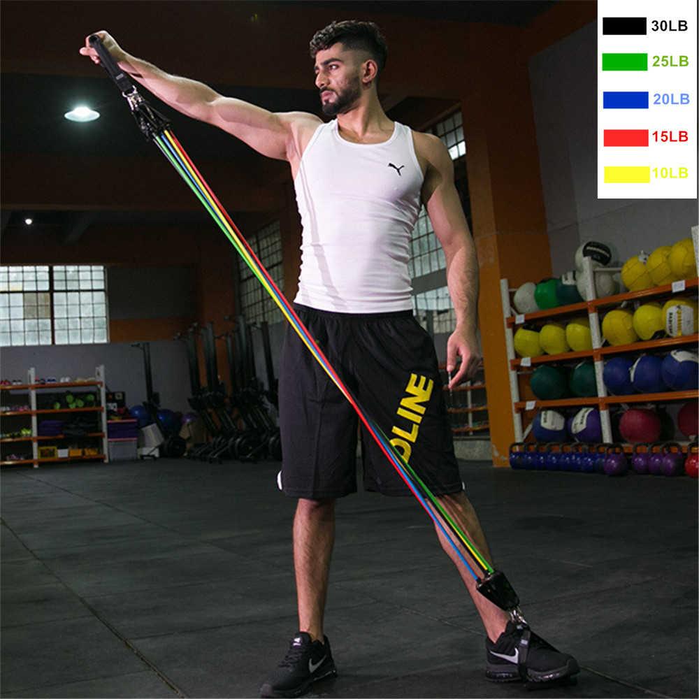 17 Teile/satz Latex Widerstand Bands Yoga Übung Fitness Band Gummi Schleife Rohr Bands Gym Tür Anker Ankle Straps Mit Tasche kit Set