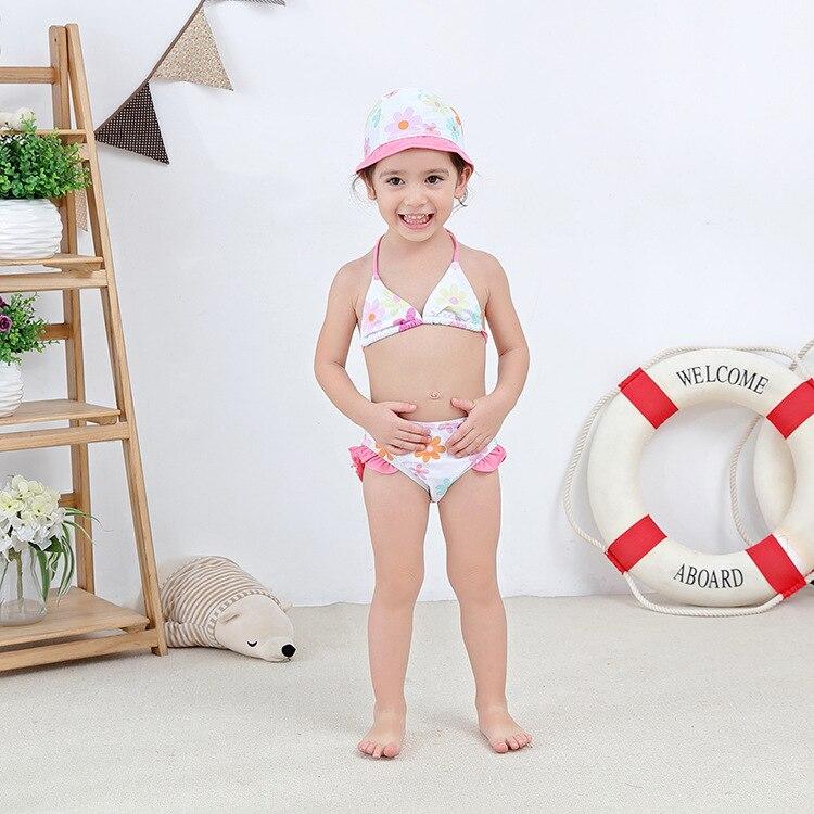 Girls' Two-piece Swimsuit Pink Flower Hua Bian Kuan KID'S Swimwear Hot Springs Clothing