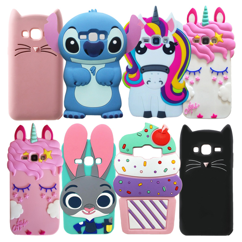 3D Cute Soft Silicone <font><b>Cases</b></font> <font><b>For</b></font> <font><b>Samsung</b></font> <font><b>Galaxy</b></font> J1 2016 Cartoon Cat Unicorn Horse Rabbit Ear Phone Back Cover J120 <font><b>J120F</b></font> SM-<font><b>J120F</b></font> image