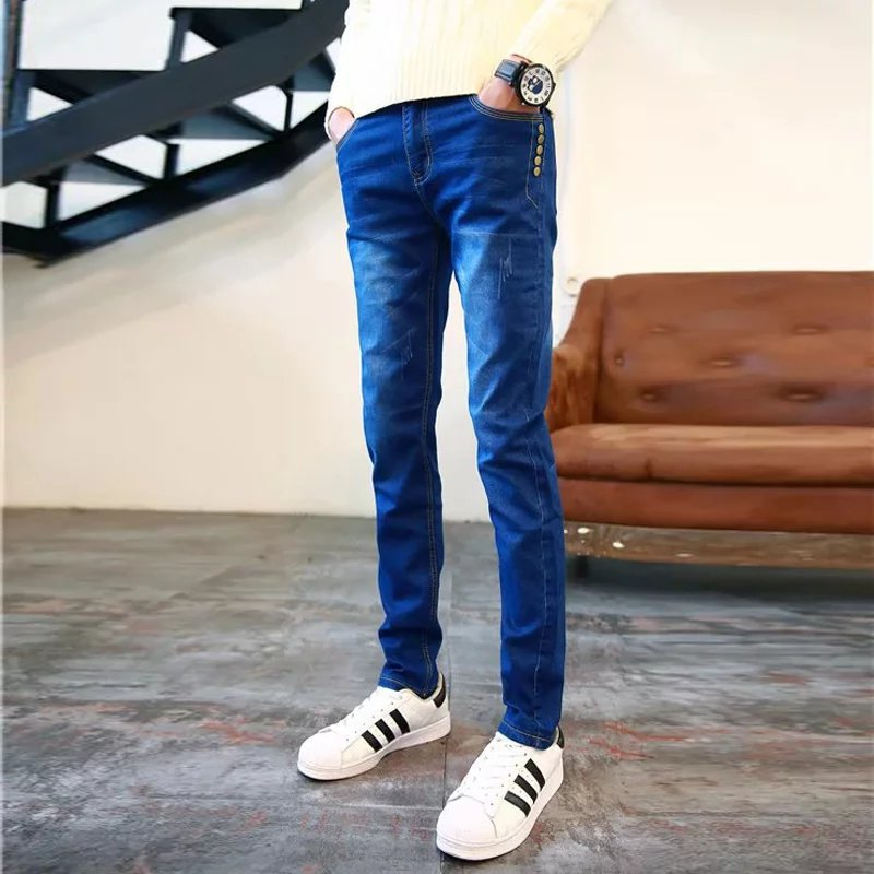 Four Seasons Trend Men Korean-style Slim Fit Elasticity Teenager Blue Students Versatile Slimming Skinny Ten Nail Jeans