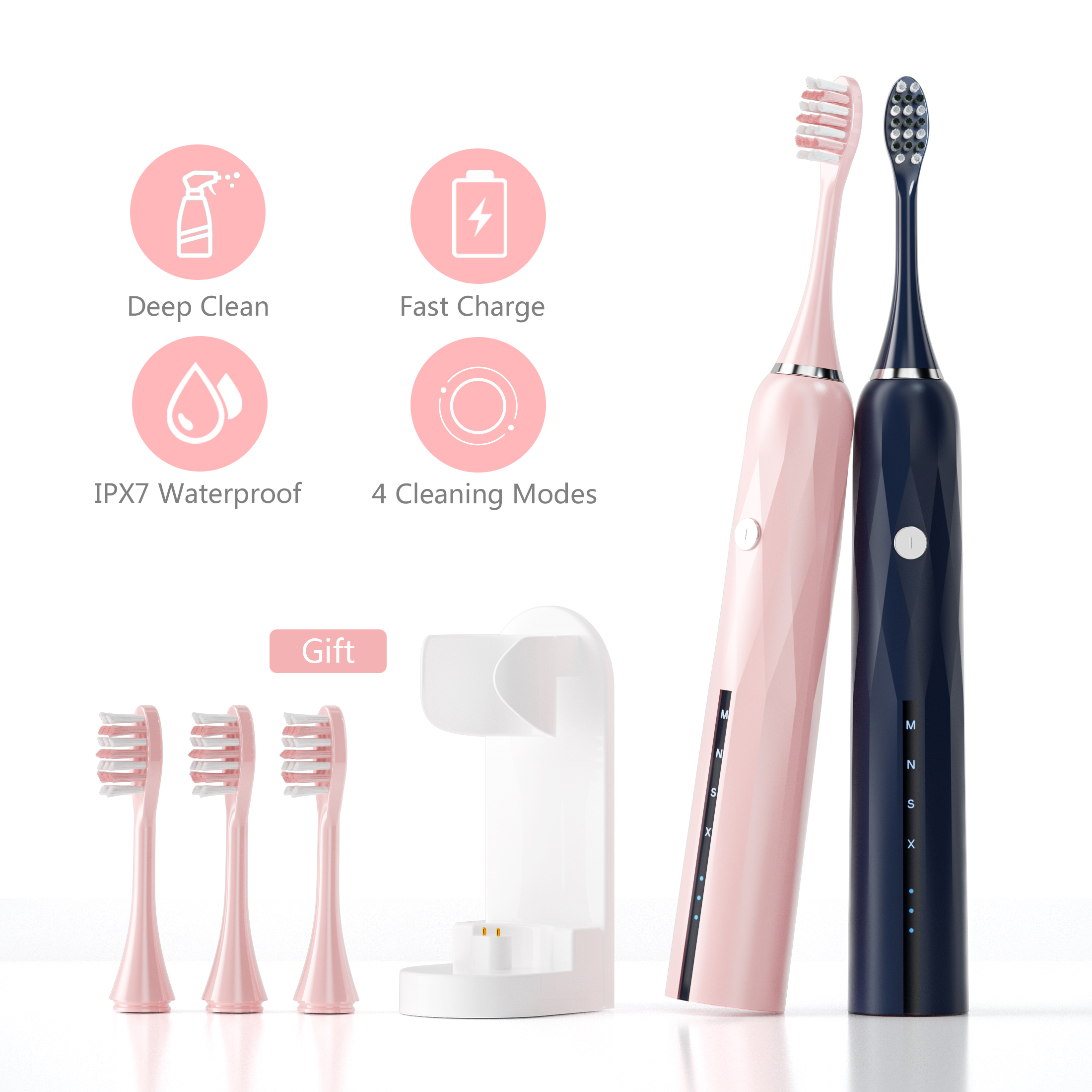 Powerful Ultrasonic Sonic Electric Toothbrush New Design USB Rechargeable Tooth Brushes Waterproof Whitening Healthy Best Gift-in Electric Toothbrushes from Home Appliances