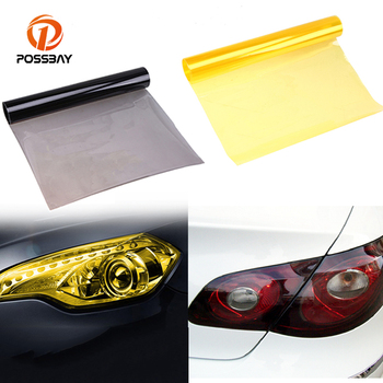 POSSABY Yellow PVC Car Fog Light Tinting Film Sticker Auto Headlight Rear Tail Light Tint Film Sheet Cover Protective Pegatinas image