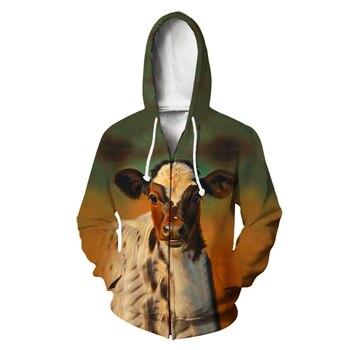 Dairy cow  Animal  3D Print Hoodies Men Harajuku Fashion Hooded Sweatshirt Autumn Unisex Zipper Jacket  Oversized 1