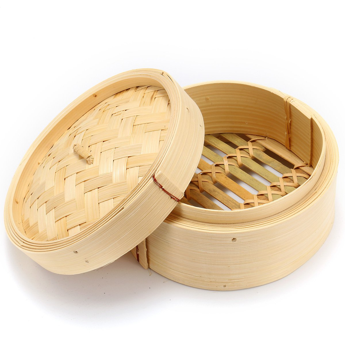 15cm Natural Bamboo Steamer With Lid Chinese Kitchen Cookware Dumpling Fish Rice Dim Sum Snack Basket Pasta Kitchen Cooking Tool