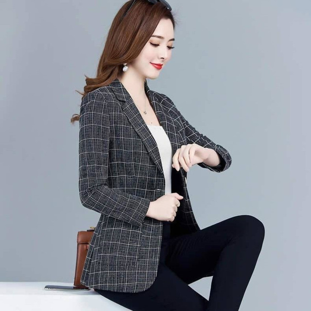 PEONFLY Spring Jacket Women Coats Retro Plaid Outwear Casual Turn Down Collar Office Wear Work Single Breasted Jackets Blazer 3