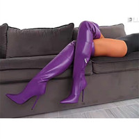 Elastic PU Leather Pointer Purple Winter Long Boots Women Sexy Side Zippe Over The knee Thin High Heel Thigh High Boots Big Size