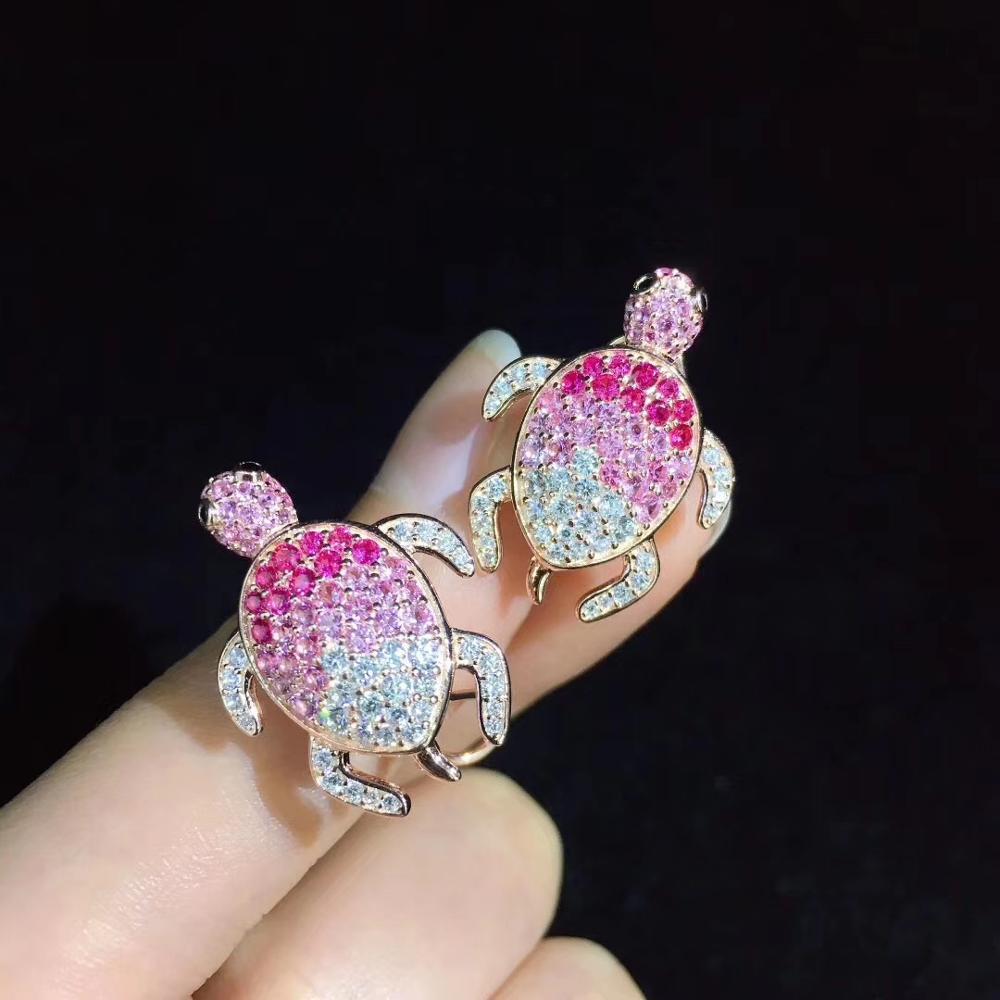 Mignon rose couleur tortue stud boucle d'oreille 925 en argent sterling avec zircon cubique 24*18MM bijoux de mode pour femmes et filles - 3