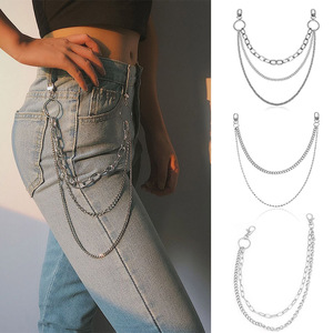 Punk Hip Hop Waist Pants Chain Two Or Three Layer Ring Rhinestone Belt KeyChain Men Woman Jeans Long Metal Trousers Accessories